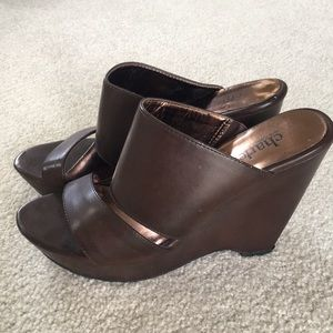 Charles David Brown wedge sandals